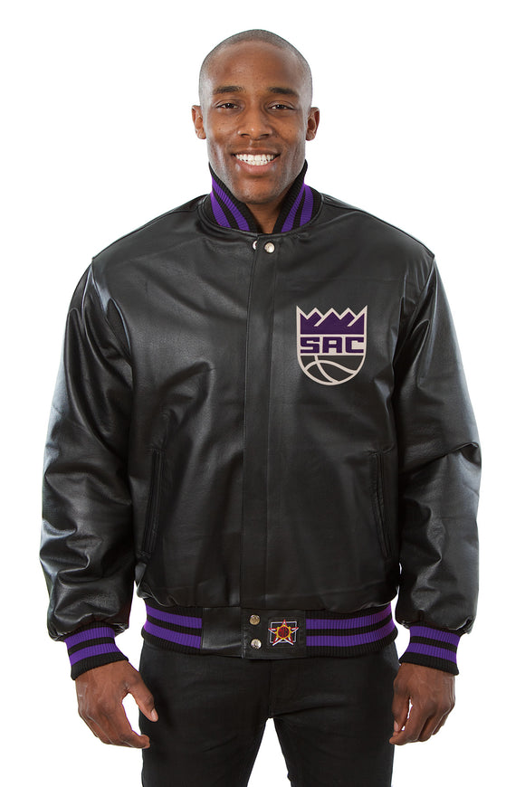 Sacramento Kings Full Leather Jacket - Black - JH Design