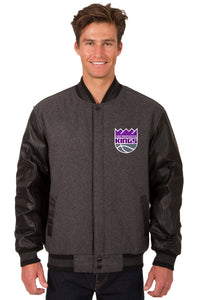 Sacramento Kings Wool & Leather Reversible Jacket w/ Embroidered Logos - Charcoal/Black - JH Design