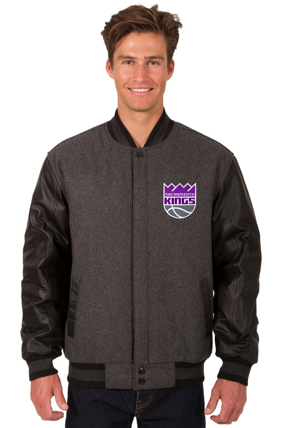 Sacramento Kings Wool & Leather Reversible Jacket w/ Embroidered Logos - Charcoal/Black - J.H. Sports Jackets