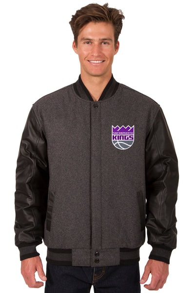 Sacramento Kings Wool & Leather Reversible Jacket w/ Embroidered Logos - Charcoal/Black