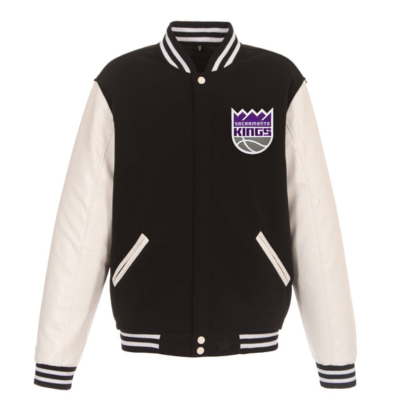 Sacramento Kings - JH Design Reversible Fleece Jacket with Faux Leather Sleeves - Black/White - JH Design