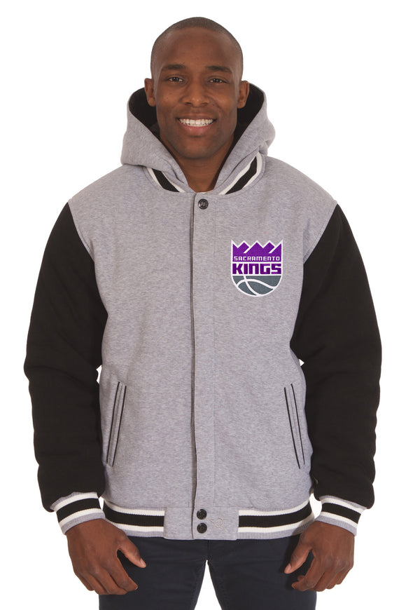 Sacramento Kings Two-Tone Reversible Fleece Hooded Jacket - Gray/Black - JH Design