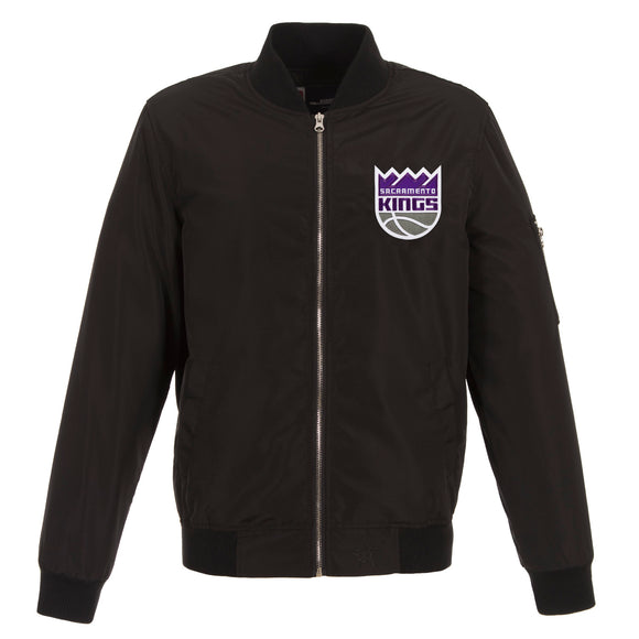 Sacramento Kings JH Design Lightweight Nylon Bomber Jacket – Black - JH Design