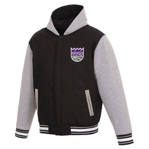 Sacramento Kings Two-Tone Reversible Fleece Hooded Jacket - Black/Grey - JH Design
