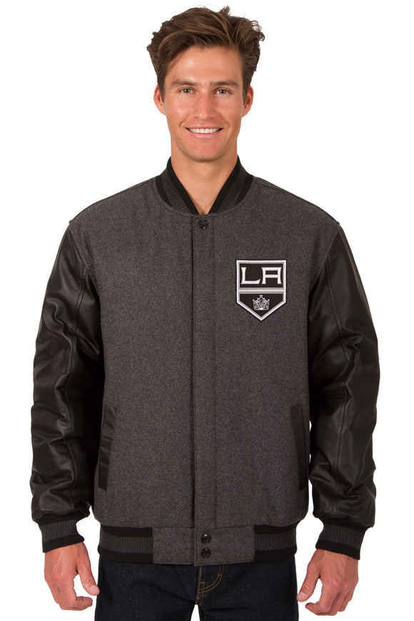 Los Angeles Kings Wool & Leather Reversible Jacket w/ Embroidered Logos - Charcoal/Black - JH Design