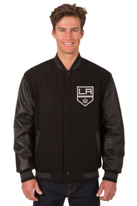 Los Angeles Kings Wool & Leather Reversible Jacket w/ Embroidered Logos - Black - J.H. Sports Jackets