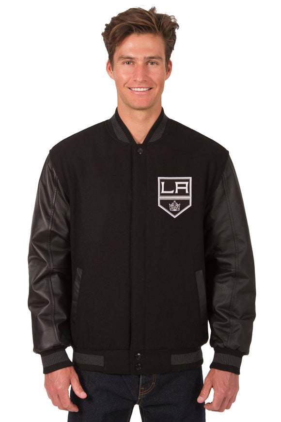 Los Angeles Kings Wool & Leather Reversible Jacket w/ Embroidered Logos - Black - JH Design