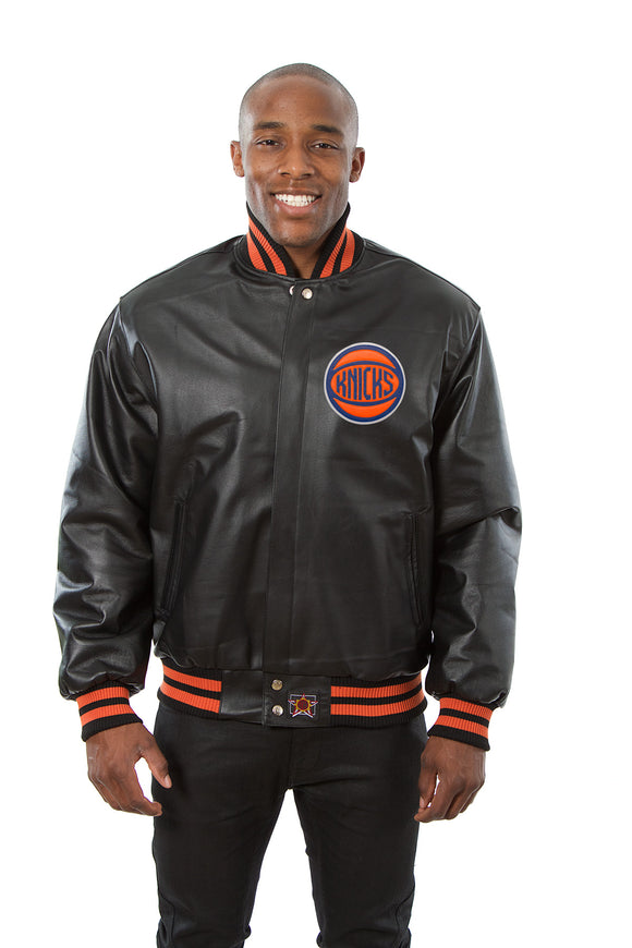 New York Knicks Full Leather Jacket - Black - JH Design