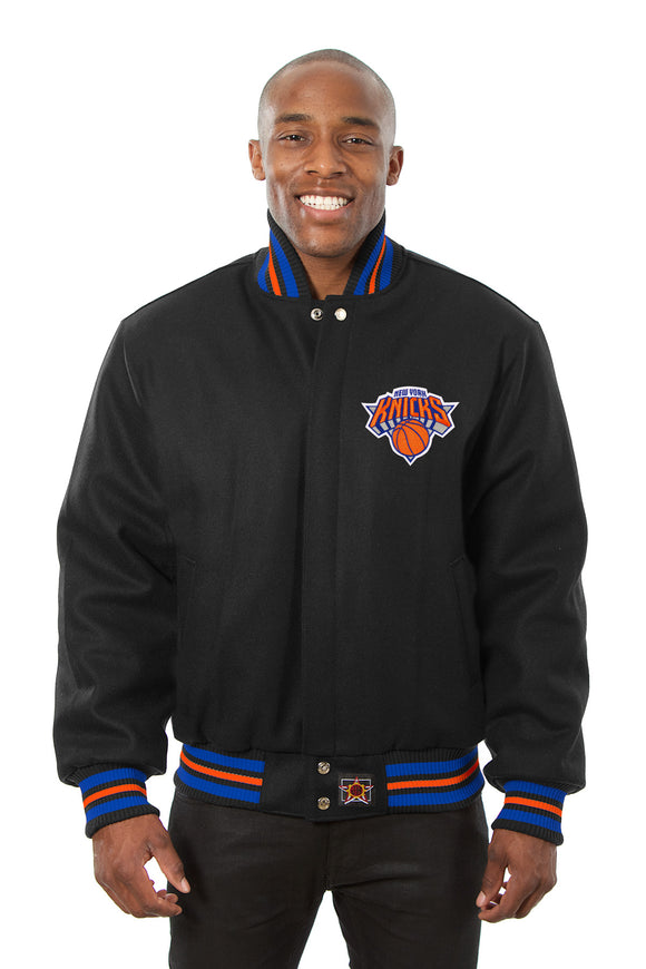 New York Knicks Embroidered Wool Jacket - Black - JH Design