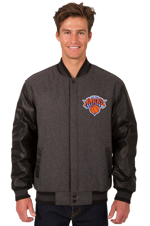 New York Knicks Wool & Leather Reversible Jacket w/ Embroidered Logos - Charcoal/Black - JH Design