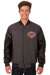 New York Knicks Wool & Leather Reversible Jacket w/ Embroidered Logos - Charcoal/Black