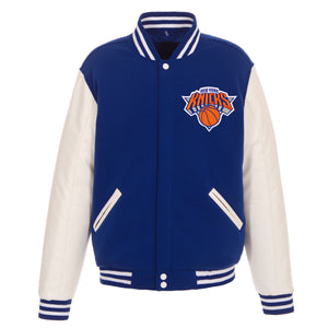 New York Knicks - JH Design Reversible Fleece Jacket with Faux Leather Sleeves - Royal/White - JH Design