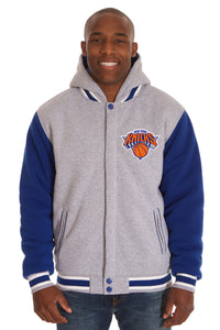 New York Knicks Two-Tone Reversible Fleece Hooded Jacket - Gray/Royal - JH Design