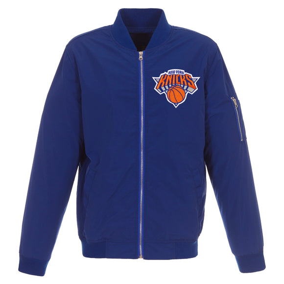 New York Knicks JH Design Lightweight Nylon Bomber Jacket – Royal - JH Design