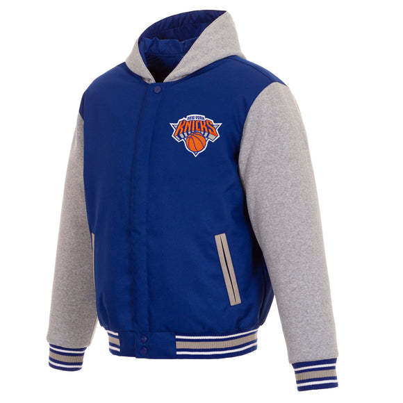 New York Knicks Two-Tone Reversible Fleece Hooded Jacket - Royal/Grey - JH Design
