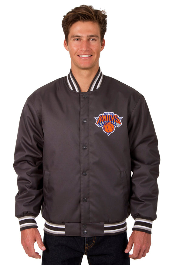 New York Knicks Poly Twill Varsity Jacket - Charcoal - JH Design
