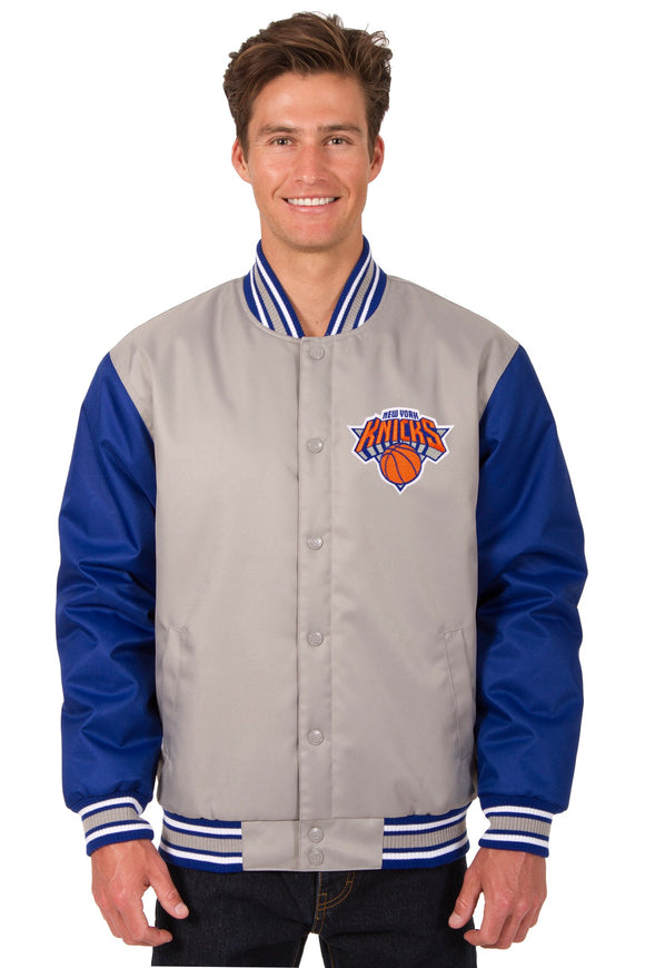 New York Knicks Poly Twill Varsity Jacket - Gray/Royal - JH Design