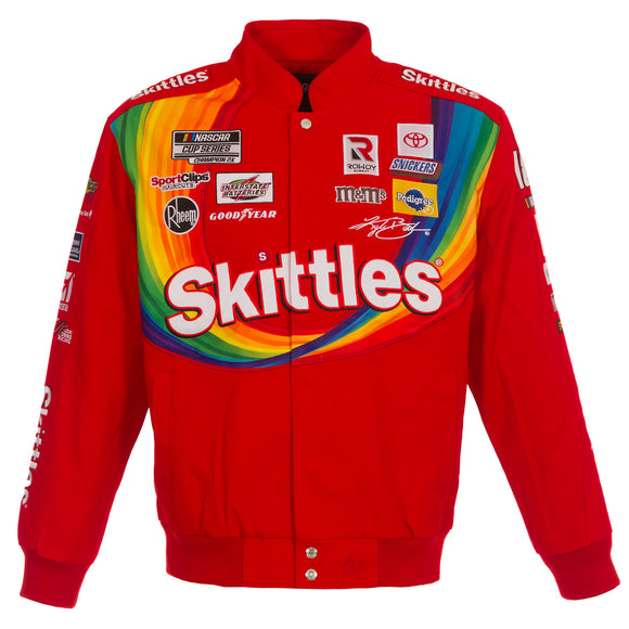 2021 Kyle Busch Skittles Full-Snap Twill Uniform Jacket - Red  LIMITED EDITION - J.H. Sports Jackets