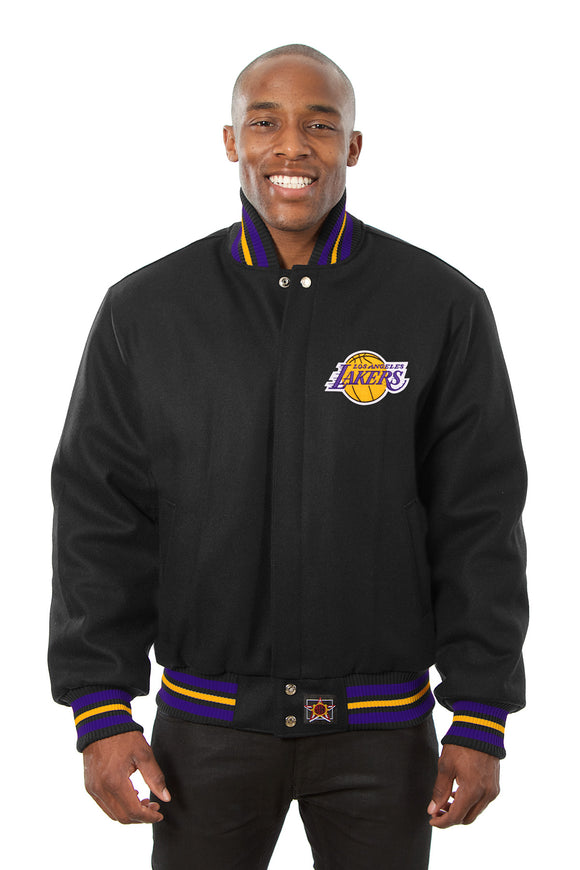 Los Angeles Lakers Embroidered Wool Jacket - Black - JH Design