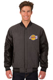 Los Angeles Lakers Wool & Leather Reversible Jacket w/ Embroidered Logos - Charcoal/Black - JH Design