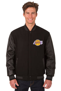 Los Angeles Lakers Wool & Leather Reversible Jacket w/ Embroidered Logos - Black - JH Design