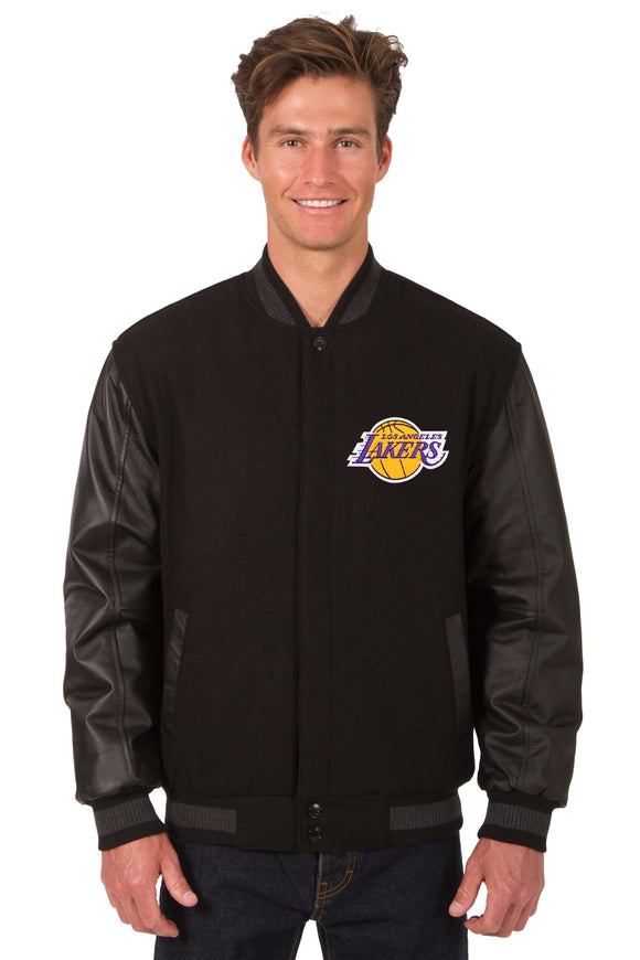 Los Angeles Lakers Wool & Leather Reversible Jacket w/ Embroidered Logos - Black