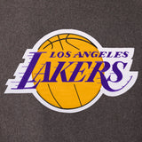 Los Angeles Lakers Wool & Leather Reversible Jacket w/ Embroidered Logos - Charcoal/Black - J.H. Sports Jackets