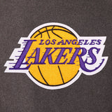 Los Angeles Lakers Wool & Leather Reversible Jacket w/ Embroidered Logos - Charcoal/Black