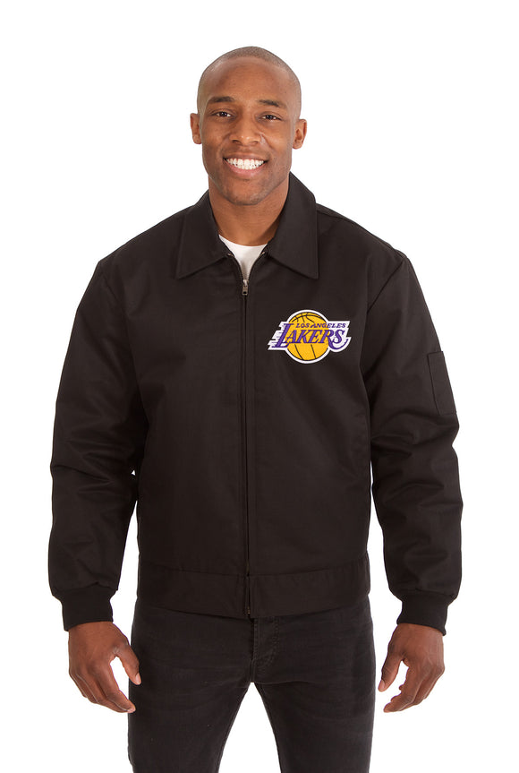 Los Angeles Lakers Cotton Twill Workwear Jacket - Black - JH Design