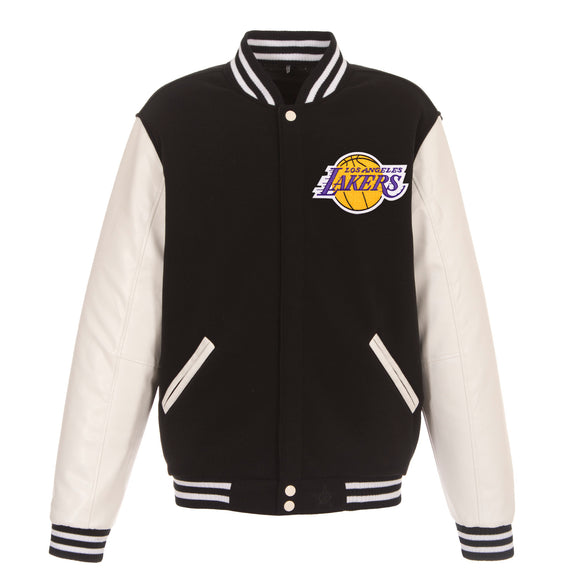 Los Angeles Lakers - JH Design Reversible Fleece Jacket with Faux Leather Sleeves - Black/White - JH Design