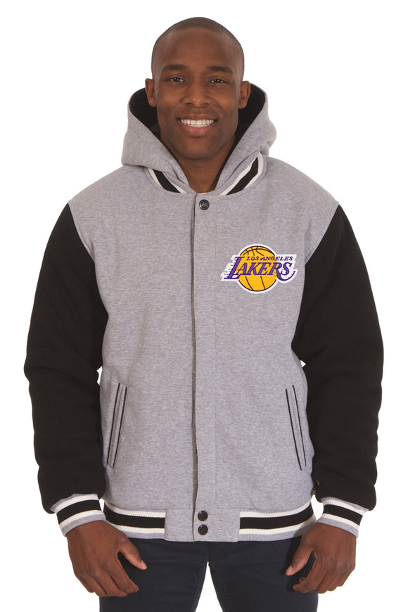 Los Angeles Lakers Two-Tone Reversible Fleece Hooded Jacket - Gray/Black - J.H. Sports Jackets