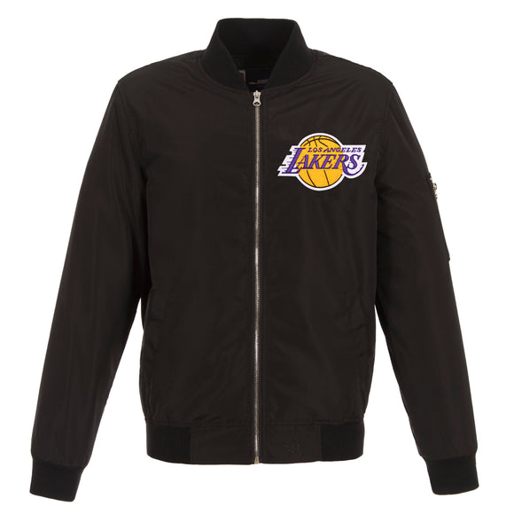 Los Angeles Lakers JH Design Lightweight Nylon Bomber Jacket – Black