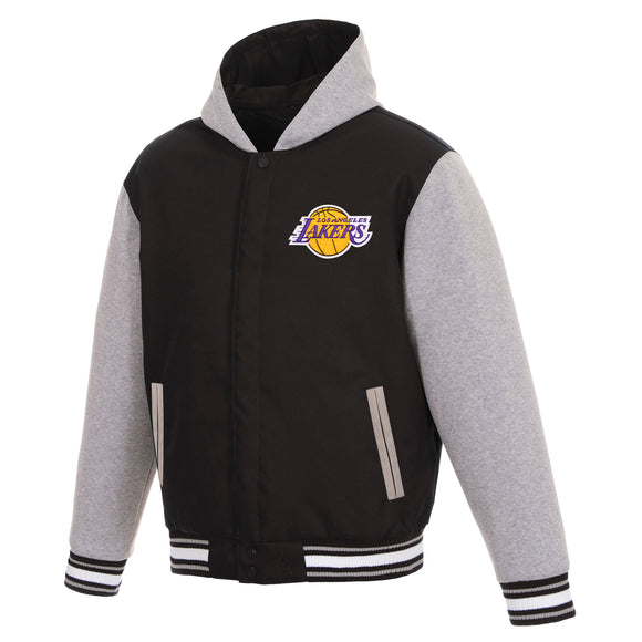 Los Angeles Lakers Two-Tone Reversible Fleece Hooded Jacket - Black/Grey - JH Design
