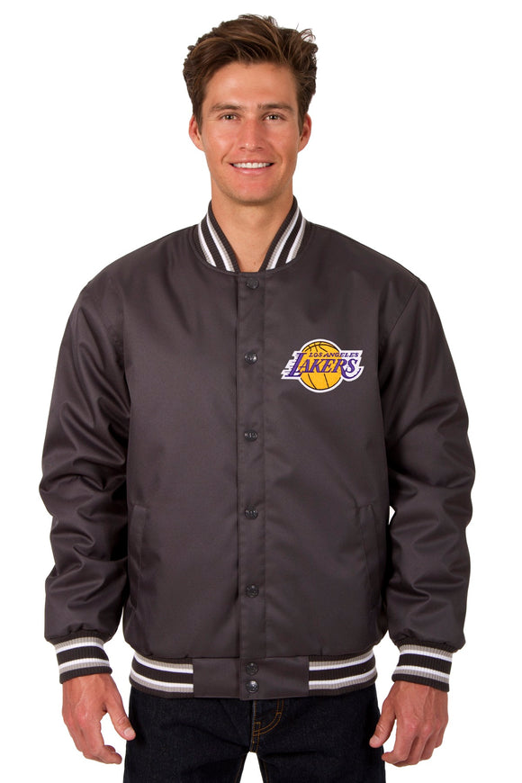 Los Angeles Lakers Poly Twill Varsity Jacket - Charcoal - JH Design