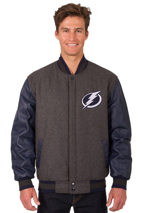 Tampa Bay Lightning Wool & Leather Reversible Jacket w/ Embroidered Logos - Charcoal/Navy - JH Design