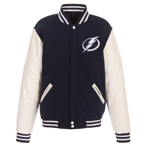 Tampa Bay Lightning JH Design Reversible Fleece Jacket with Faux Leather Sleeves - Navy/White - JH Design
