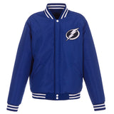 Tampa Bay Lightning JH Design Reversible Fleece Jacket with Faux Leather Sleeves - Royal/White - JH Design