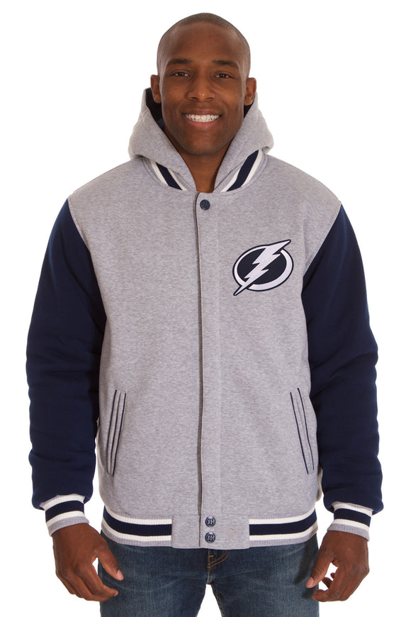 Tampa Bay Lightning Two-Tone Reversible Fleece Hooded Jacket - Gray/Navy - JH Design