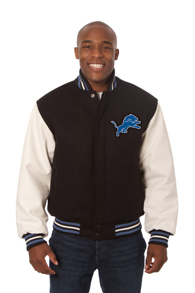 Detroit Lions Jets Two-Tone Wool and Leather Jacket - Black/White