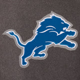 Detroit Lions Wool & Leather Reversible Jacket w/ Embroidered Logos - Charcoal/Black - J.H. Sports Jackets
