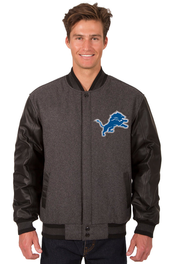 Detroit Lions Wool & Leather Reversible Jacket w/ Embroidered Logos - Charcoal/Black - JH Design