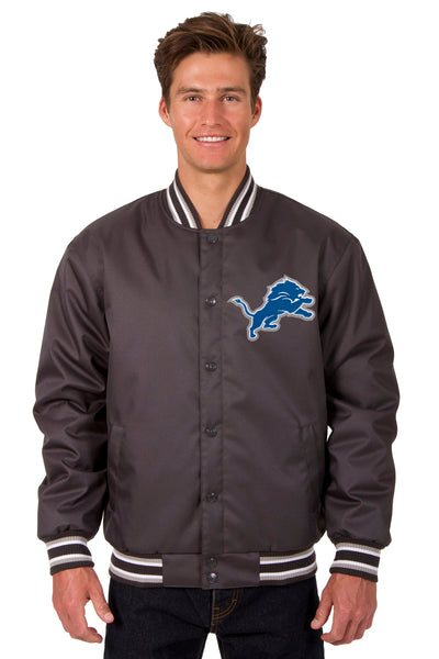 Detroit Lions Poly Twill Varsity Jacket - Charcoal
