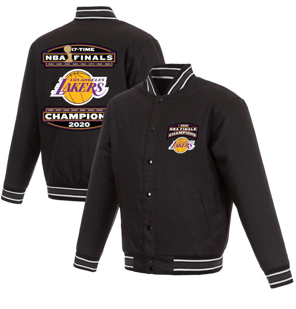 Los Angeles Lakers JH Design 17-Time NBA Finals Champions Full-Snap Jacket - Black - JH Design