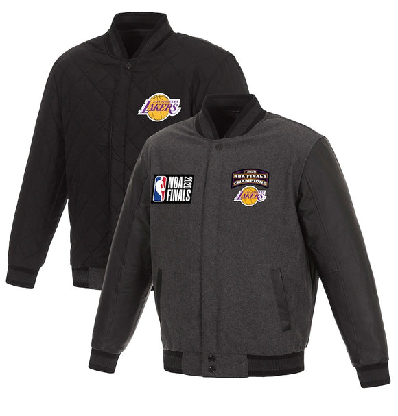Los Angeles Lakers JH Design 17-Time NBA Finals Champions Reversible Full-Snap Wool Leather Jacket - Charcoal - JH Design