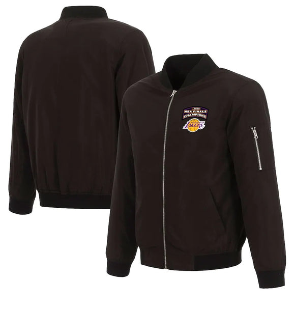 Los Angeles Lakers JH Design 2020 NBA Finals Champions Full-Zip Nylon Bomber Jacket - Black - JH Design
