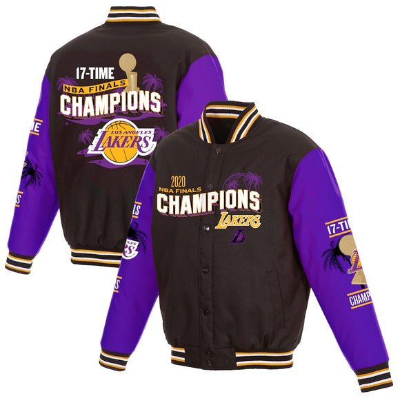 Los Angeles Lakers JH Design 17-Time NBA Finals Champions Palm Full-Snap Jacket - Black - JH Design