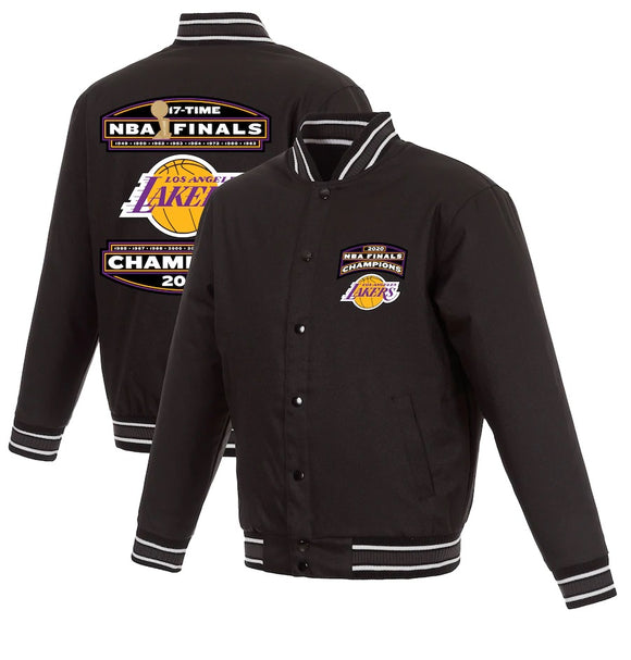 Los Angeles Lakers JH Design 17-Time NBA Finals Champions Poly-Twill Full Snap Jacket - Black - JH Design