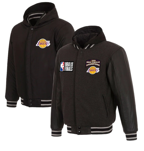 Los Angeles Lakers JH Design 2020 NBA Finals Champions Reversible Fleece Faux Leather Full-Zip Hoodie - Charcoal - JH Design