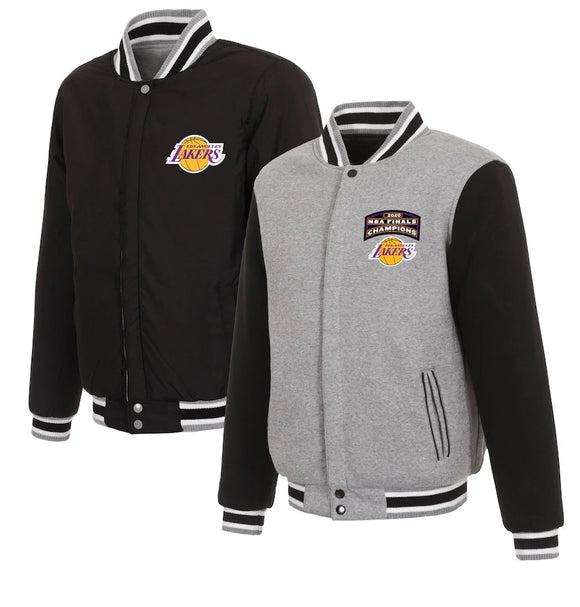 Los Angeles Lakers JH Design 2020 NBA Finals Champions Reversible Fleece Full-Snap Jacket - Charcoal - JH Design