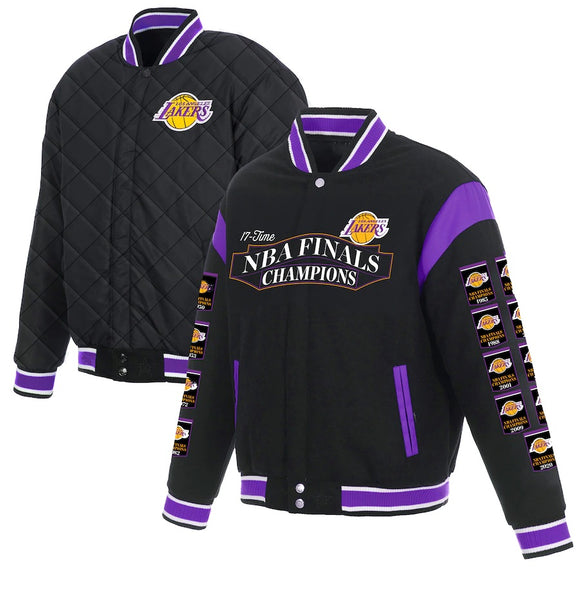 Los Angeles Lakers JH Design 17-Time NBA Finals Champions Reversible Full-Snap Jacket - Black - JH Design